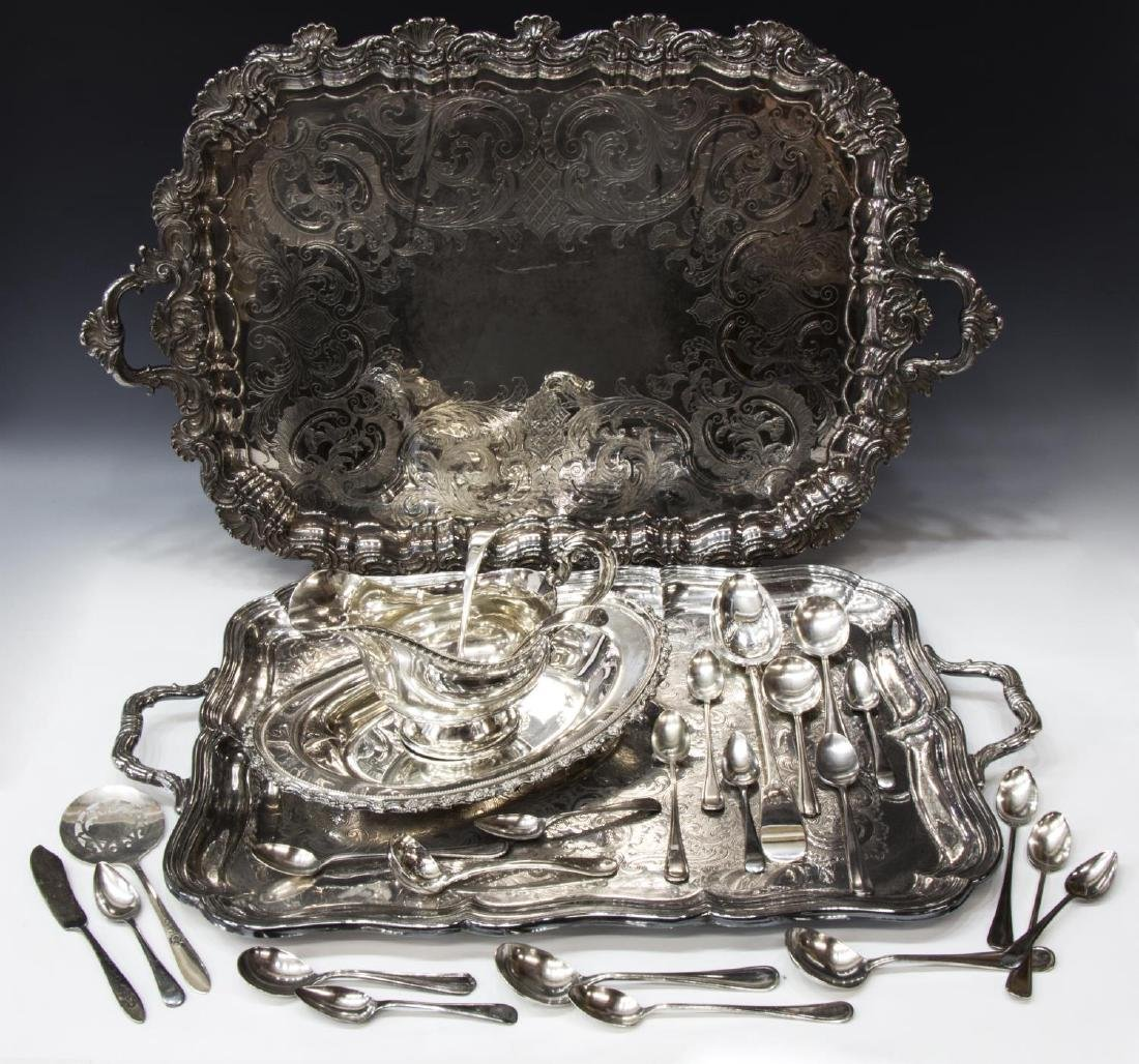 GROUP OF SILVERPLATE SERVICE TRAYS & TABLEWARE