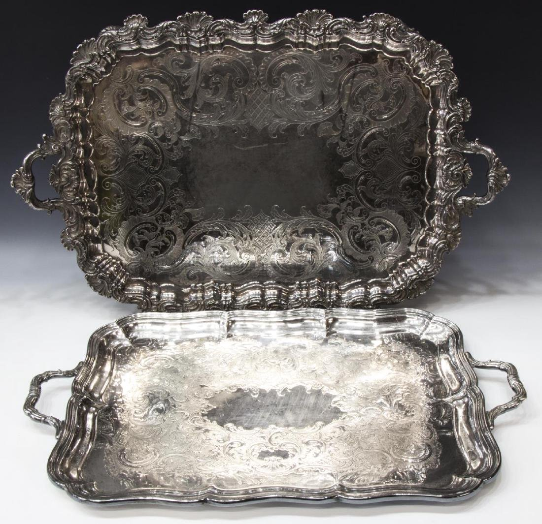 GROUP OF SILVERPLATE SERVICE TRAYS & TABLEWARE - 2