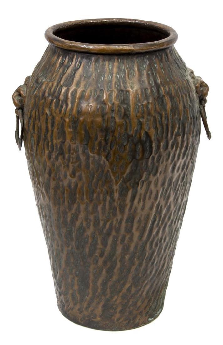 COPPER LION MASK UMBRELLA STAND OR FLOOR VASE