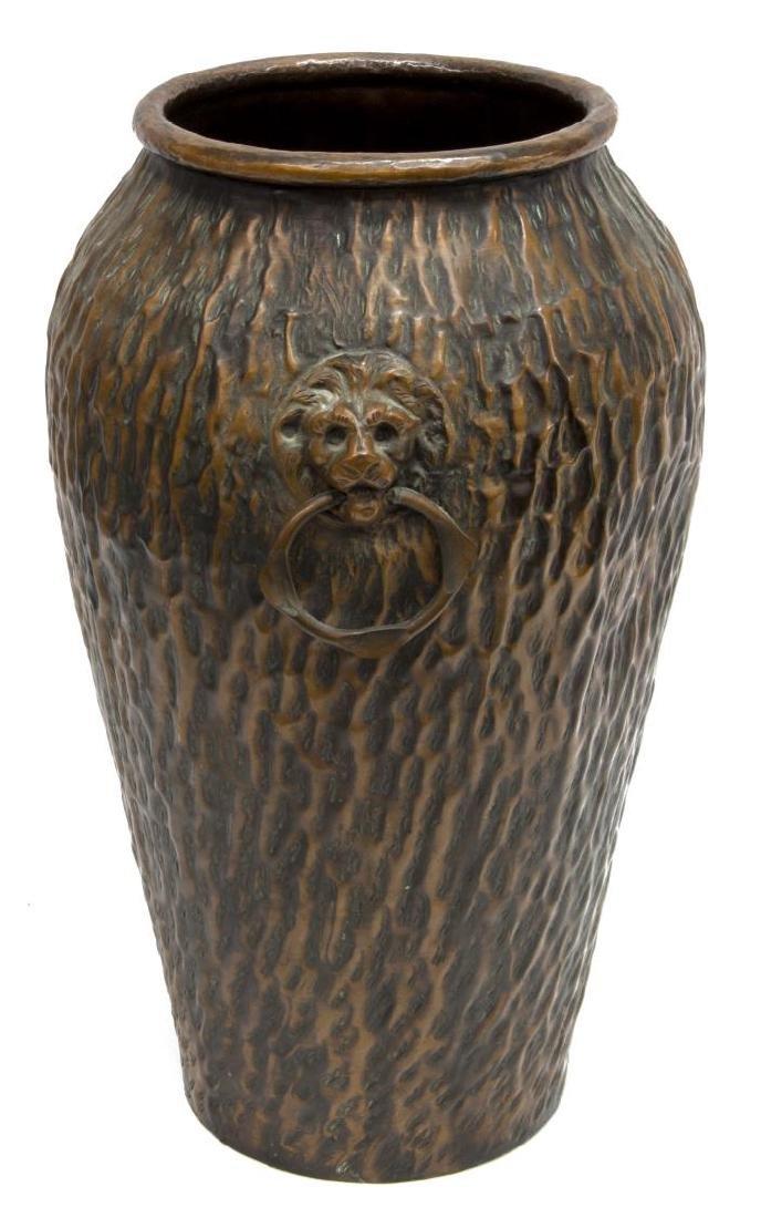 COPPER LION MASK UMBRELLA STAND OR FLOOR VASE - 2