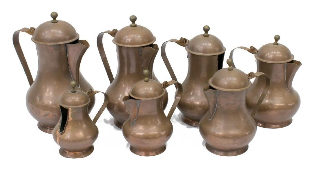 (7) VINTAGE CONTINENTAL GRADUATED COPPER KETTLES