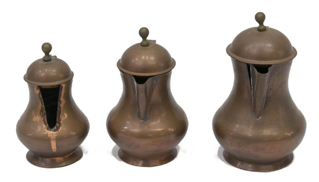 (7) VINTAGE CONTINENTAL GRADUATED COPPER KETTLES - 3