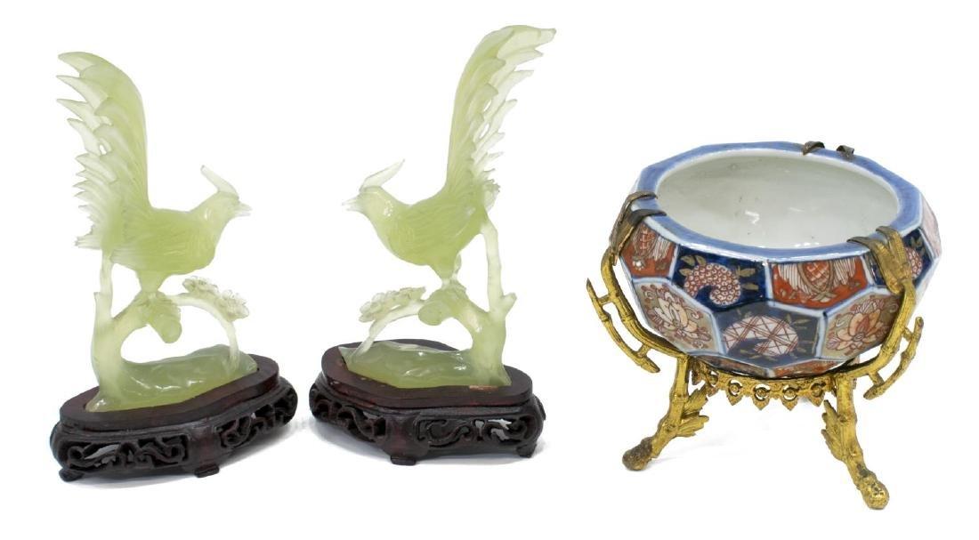 (3) ASIAN IMARI PALLET BOWL & CARVED STONE BIRDS