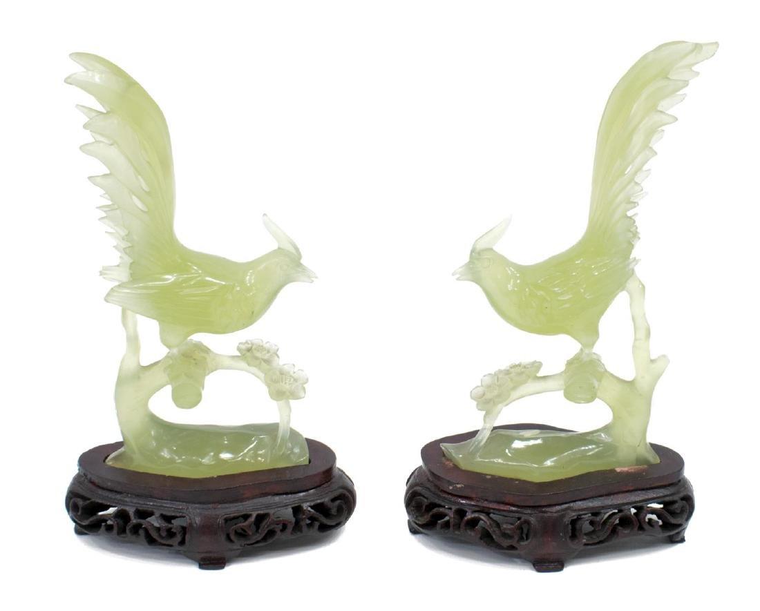 (3) ASIAN IMARI PALLET BOWL & CARVED STONE BIRDS - 2