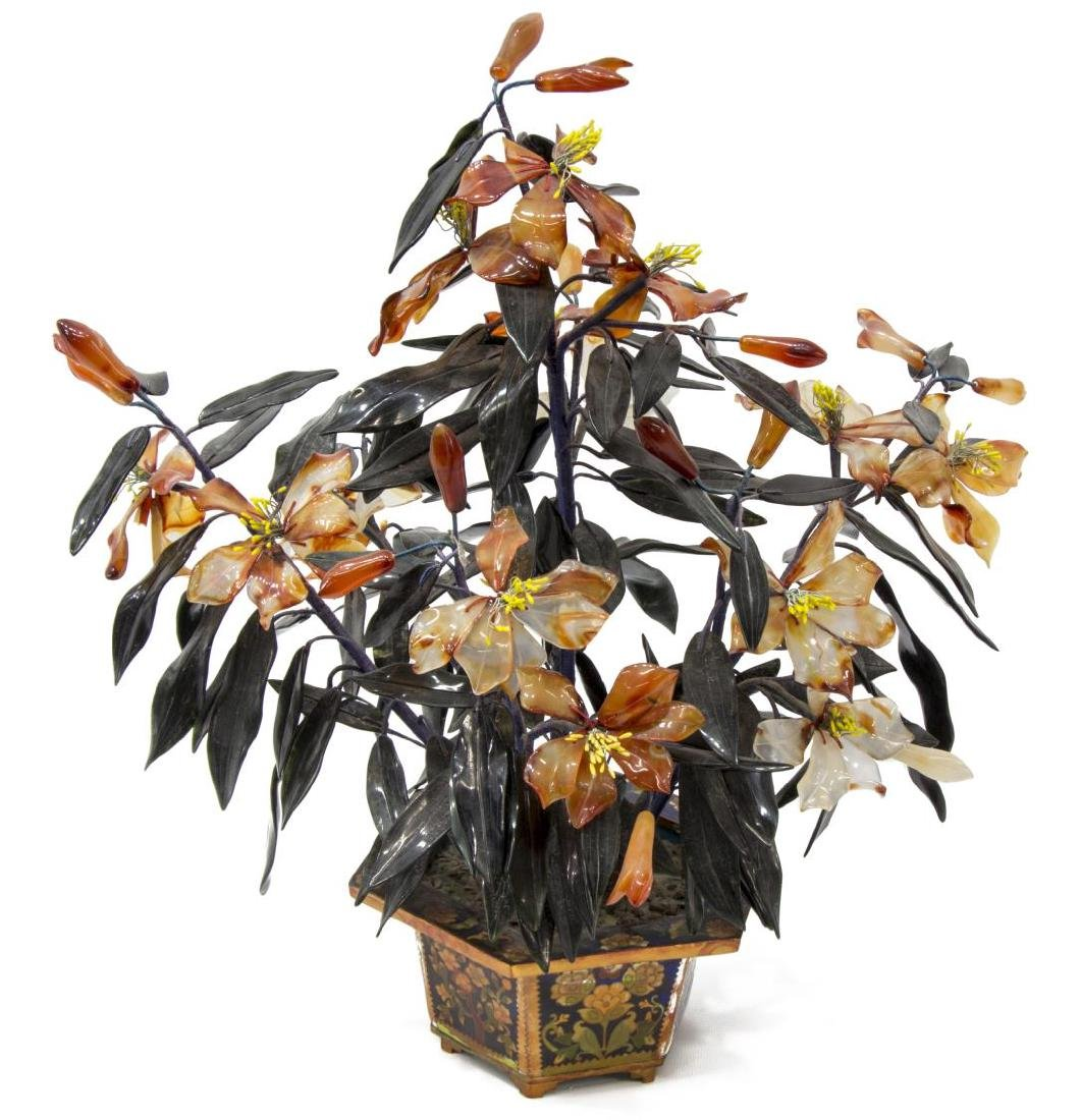 ASIAN HARD STONE FLOWERING TREE IN CLOISONNE POT