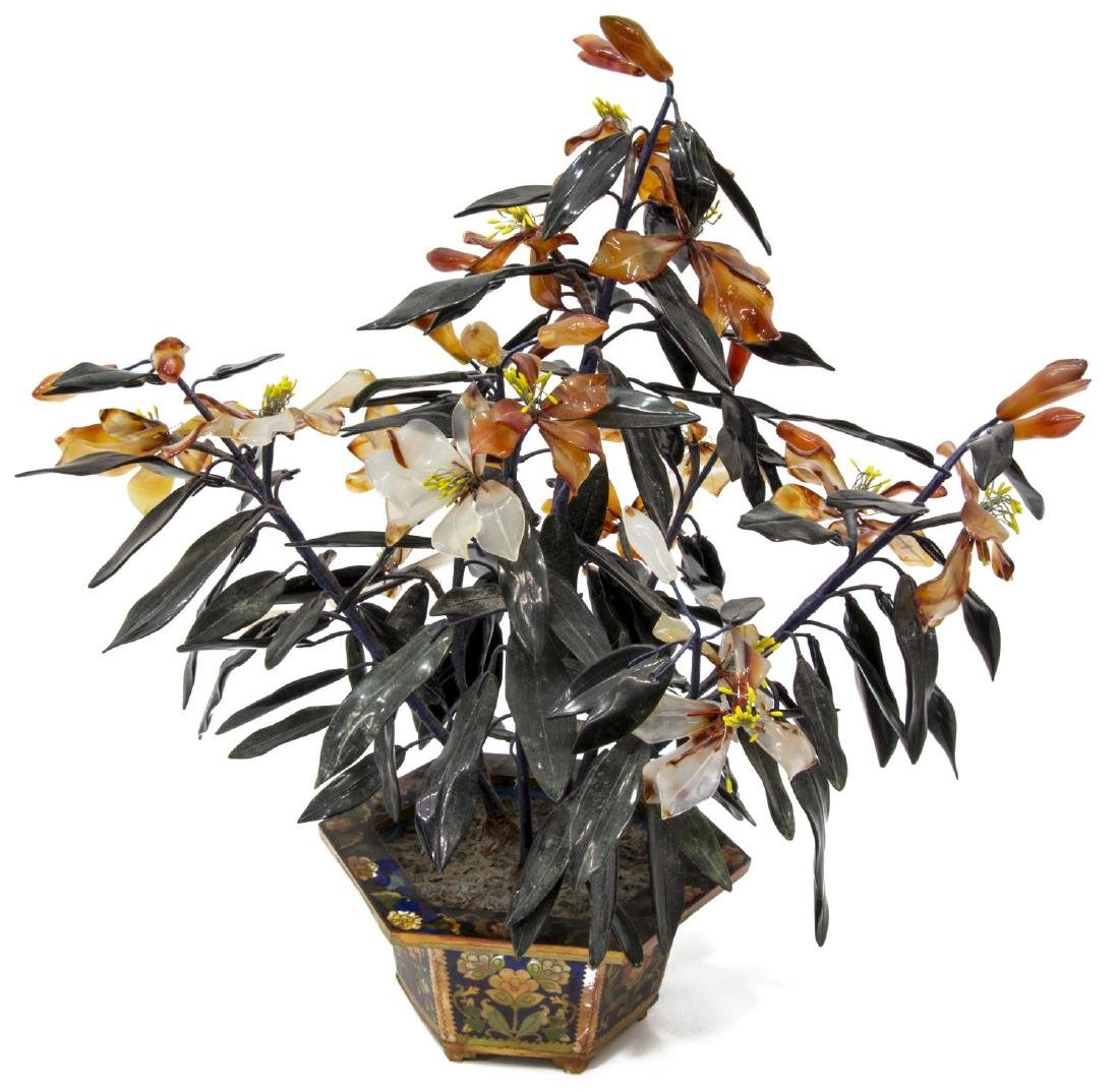 ASIAN HARD STONE FLOWERING TREE IN CLOISONNE POT - 2