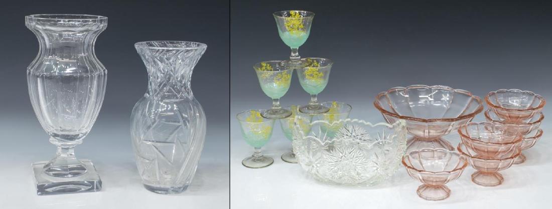 (16) GLASS SERVICEWARE DESSERT SET, STEMS, VASES