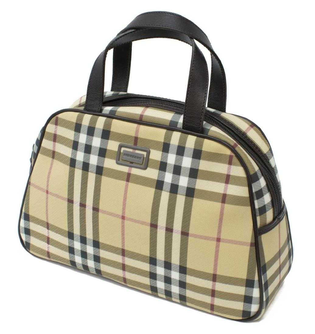 a879255a5080 BURBERRY NOVA CHECK COATED CANVAS SMALL BOSTON BAG