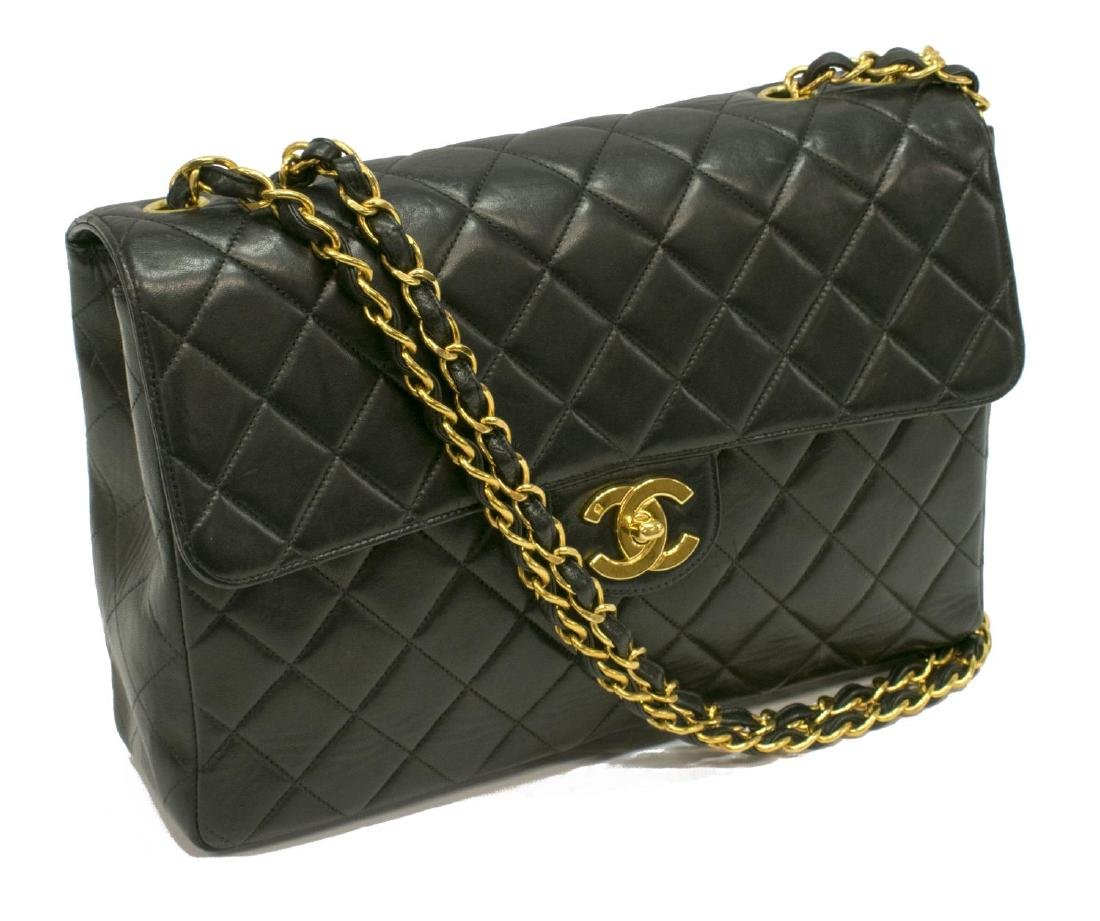 CHANEL QUILTED CLASSIC BLACK LEATHER FLAP PURSE