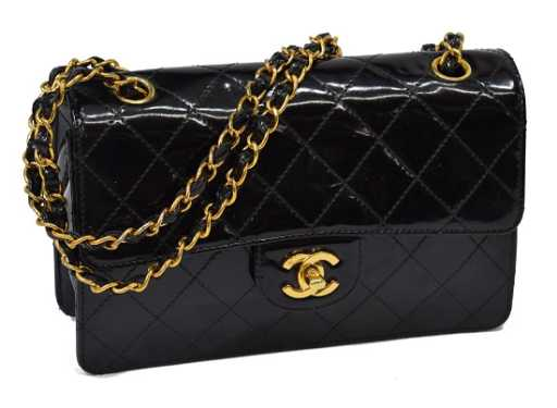 3b3b2aea69e9 CHANEL BLACK QUILTED PATENT SMALL CLASSIC FLAP BAG
