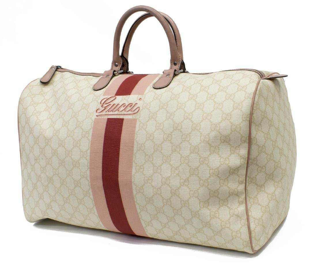 9b7c26fb0 GUCCI 'JOY' MONOGRAM CANVAS PINK WEB BOSTON BAG - Dec 09, 2017 | Austin  Auction Gallery in TX