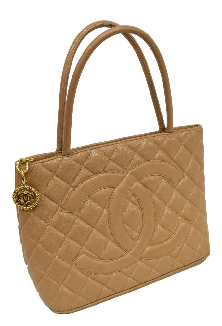 CHANEL 'MEDALLION' QUILTED TAN LEATHER TOTE BAG