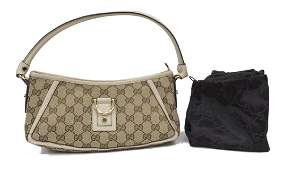 GUCCI MONOGRAM CANVAS DRING SHOULDER BAG