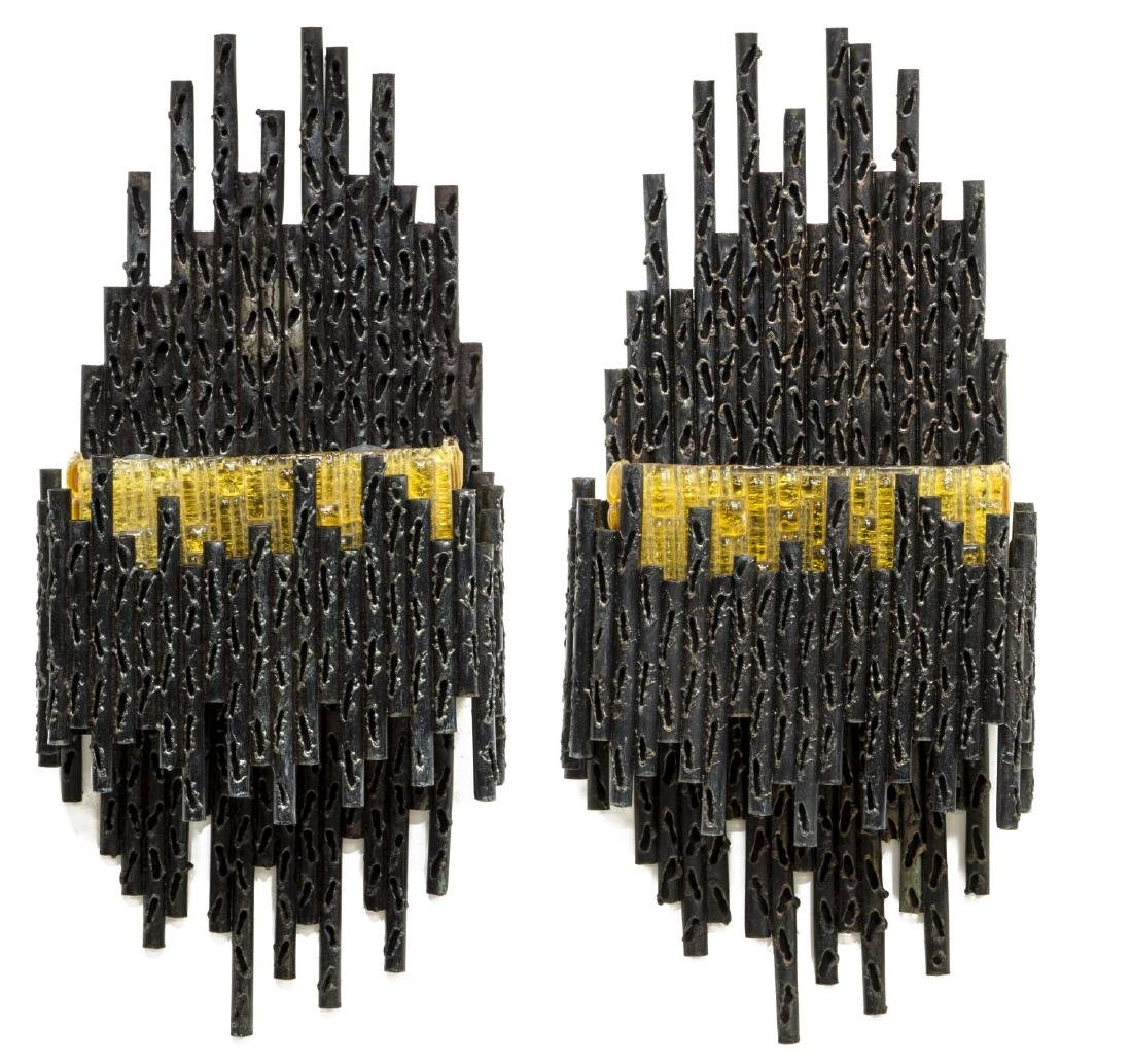 2) MARCELLO FANTONI BRUTALIST CUT IRON WALL LIGHTS