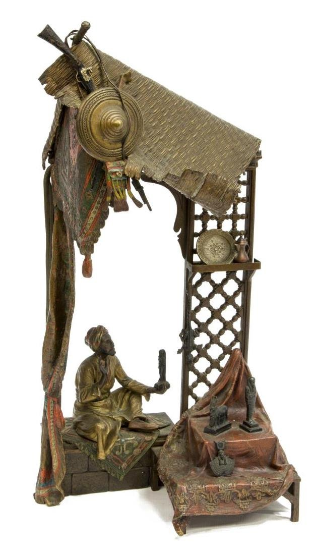 "FRANZ BERGMAN BRONZE ANTIQUES SELLER LAMP, 15""H"