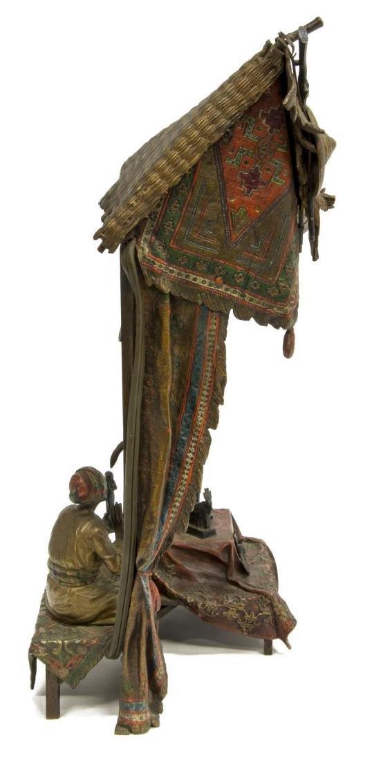"FRANZ BERGMAN BRONZE ANTIQUES SELLER LAMP, 15""H - 3"