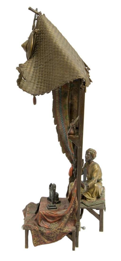 "FRANZ BERGMAN BRONZE ANTIQUES SELLER LAMP, 15""H - 6"