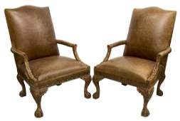 2 LEATHER ARMCHAIRS STAR OF TEXAS NAIL HEADS