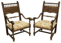 (2) FRENCH RENAISSANCE REVIVAL STYLE ARMCHAIRS