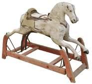 AMERICAN CARVED GLIDER ROCKING HORSE, ATT. REED
