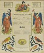 HAND COLORED BIRTH/BAPTISM CERTIFICATE 1834