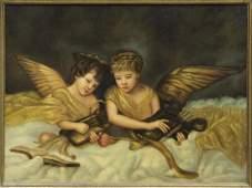 ELABORATE GILT FRAMED PAINTING ON CANVAS, ANGELS