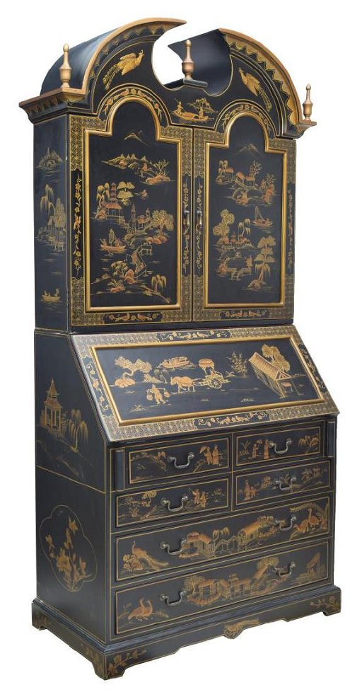 Admirable Chinoiserie Black Lacquer Secretary Cabinet Download Free Architecture Designs Rallybritishbridgeorg