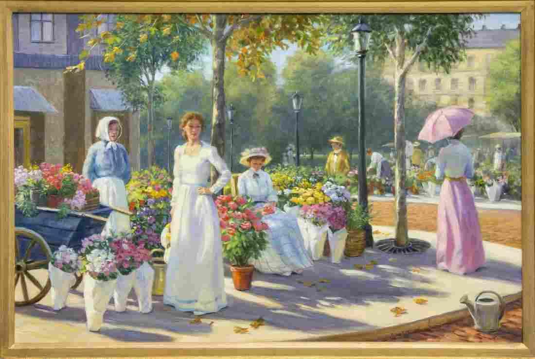 GREGORY F. HARRIS (B. 1953) AUTUMN FLOWER MARKET