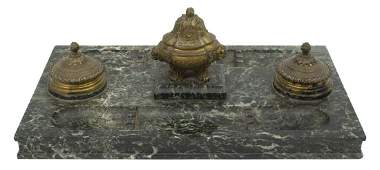 FRENCH GREEN MARBLE DOUBLE INKSTAND DESK TRAY