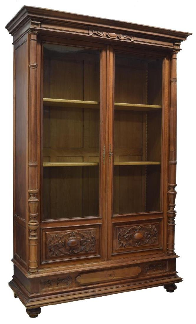 french walnut glass front bookcase mid19th c
