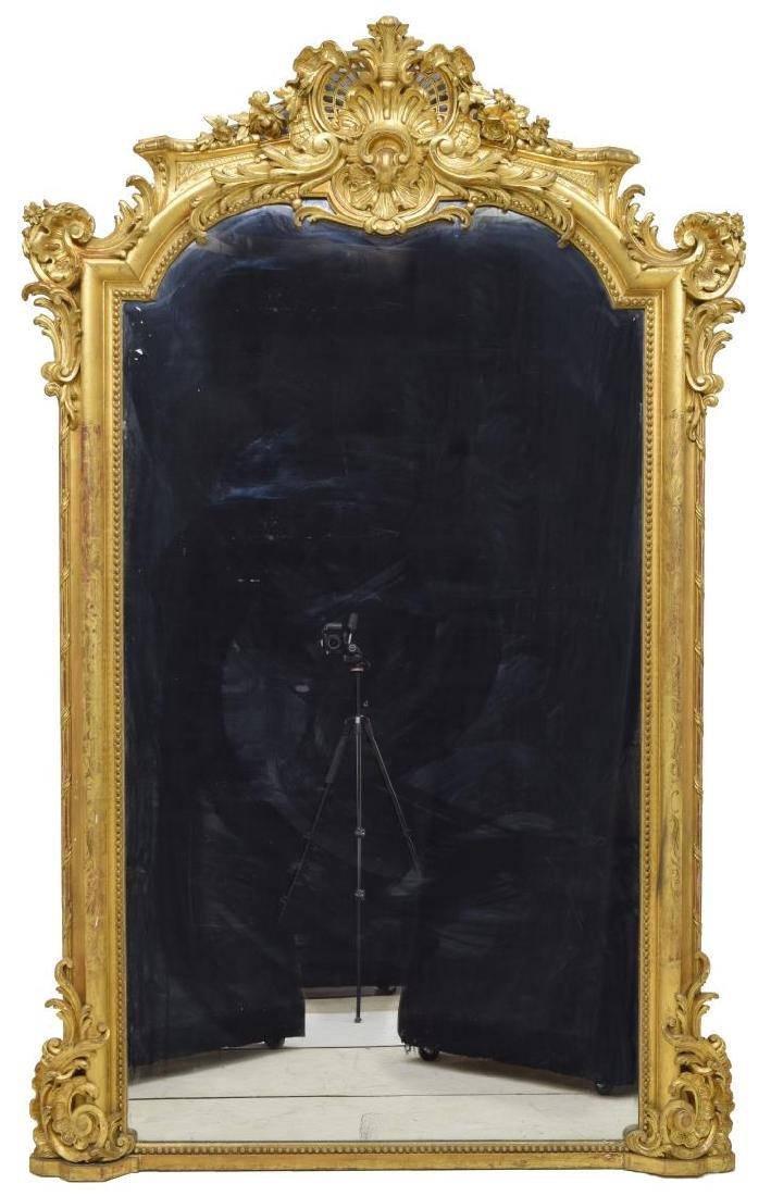MONUMENTAL FRENCH LOUIS XV STYLE GILTWOOD MIRROR