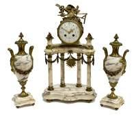 (3) FRENCH LOUIS XV STYLE MANTLE CLOCK & GARNITURE