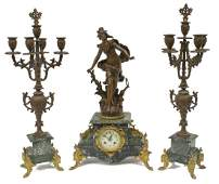 3 FRENCH FIGURAL MARBLE MANTLE CLOCK  GARNITURE