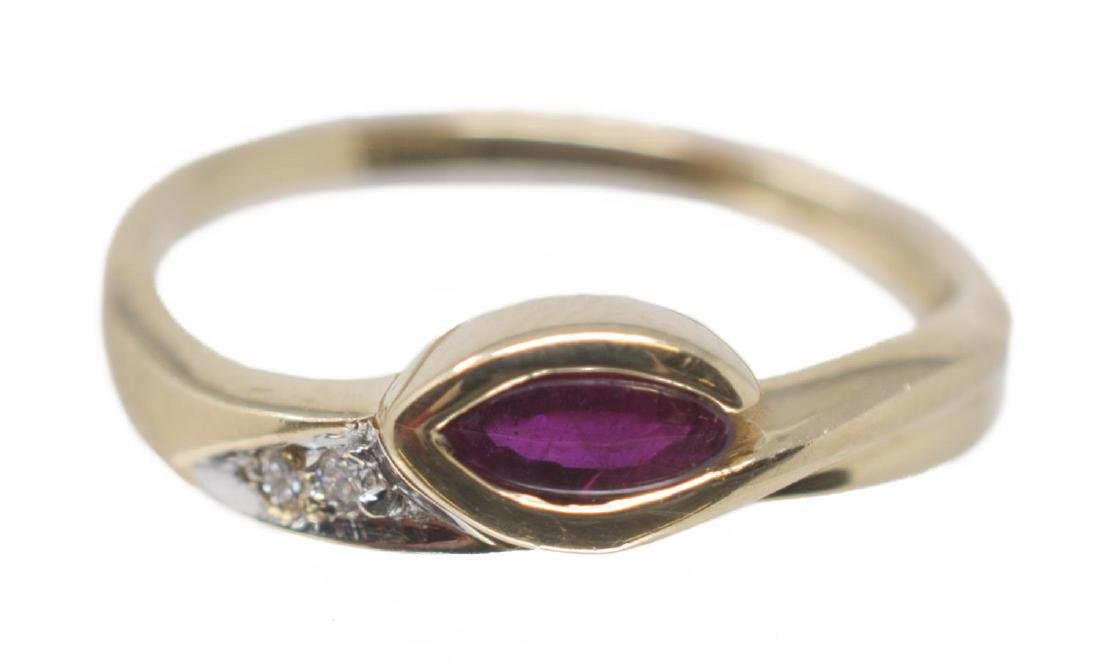 18KT YELLOW GOLD, RUBY & DIAMOND ESTATE RING - 2