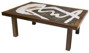 DANISH MID-CENTURY ROSEWOOD TILE TOP TABLE, SIGNED