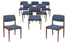 (8) DANISH MID-CENTURY TEAK SIDE CHAIRS BY BRAMIN