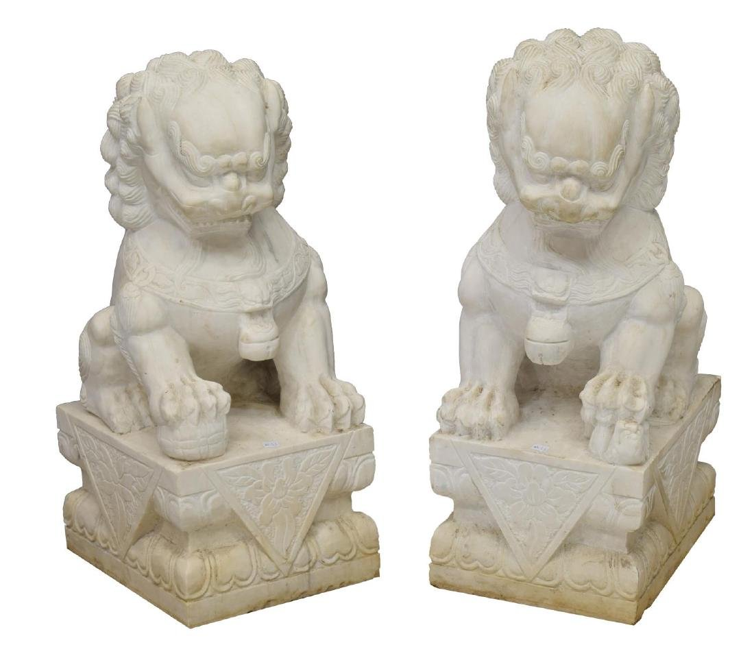 (2) CHINESE CARVED MARBLE FOO LIONS