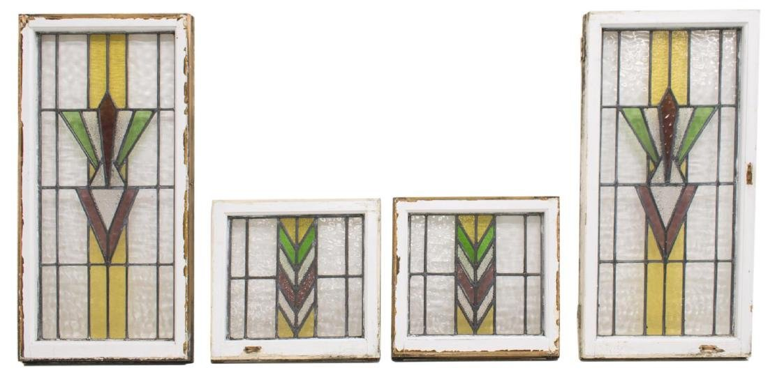 (4) ENGLISH STAINED LEADED GLASS WINDOWS
