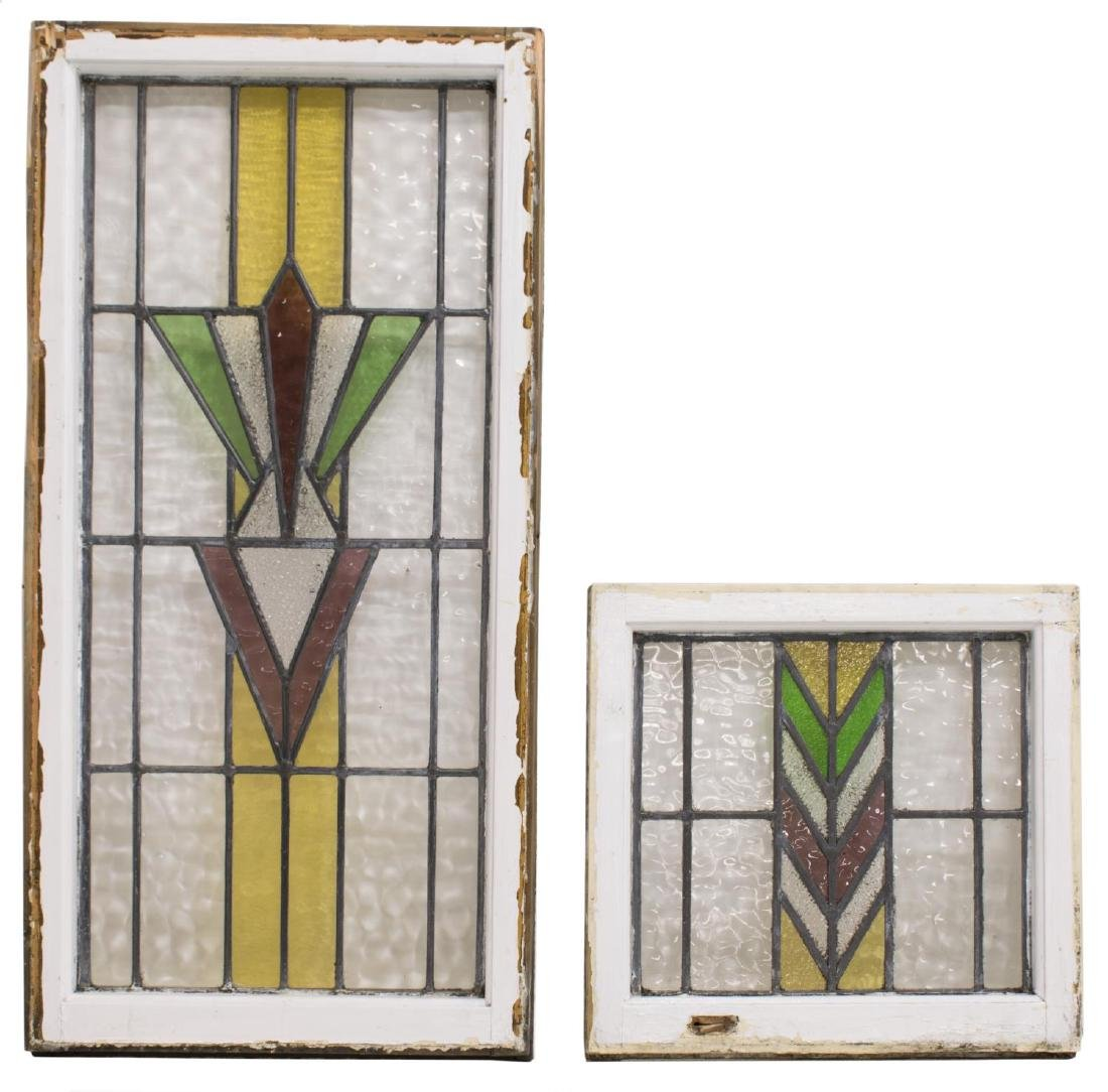 (4) ENGLISH STAINED LEADED GLASS WINDOWS - 2