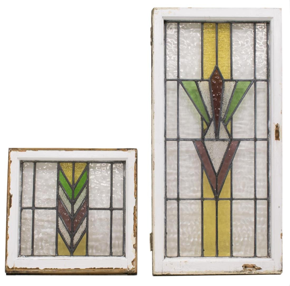 (4) ENGLISH STAINED LEADED GLASS WINDOWS - 3