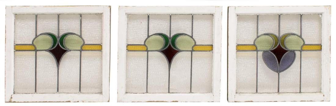 (3) ENGLISH STAINED LEADED GLASS WINDOWS