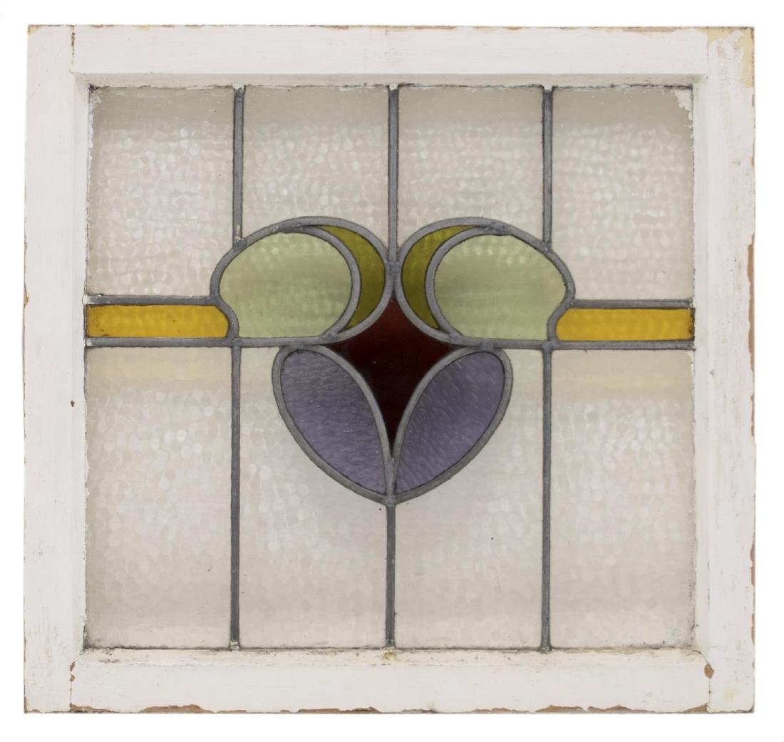 (3) ENGLISH STAINED LEADED GLASS WINDOWS - 2