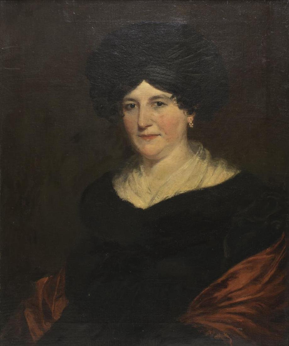 FRAMED OIL PAINTING PORTRAIT OF A WOMAN, 19TH C.
