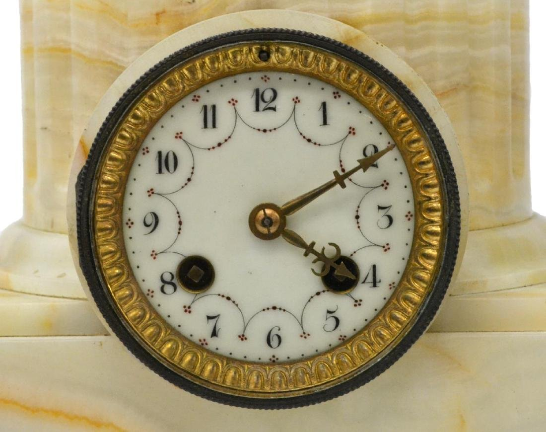 ANTIQUE FIGURAL ONYX BASE MANTLE CLOCK - 4