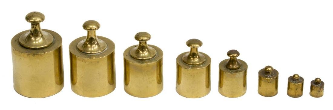 ENGLISH BRASS DOLPHIN BALANCE SCALE & WEIGHTS - 3