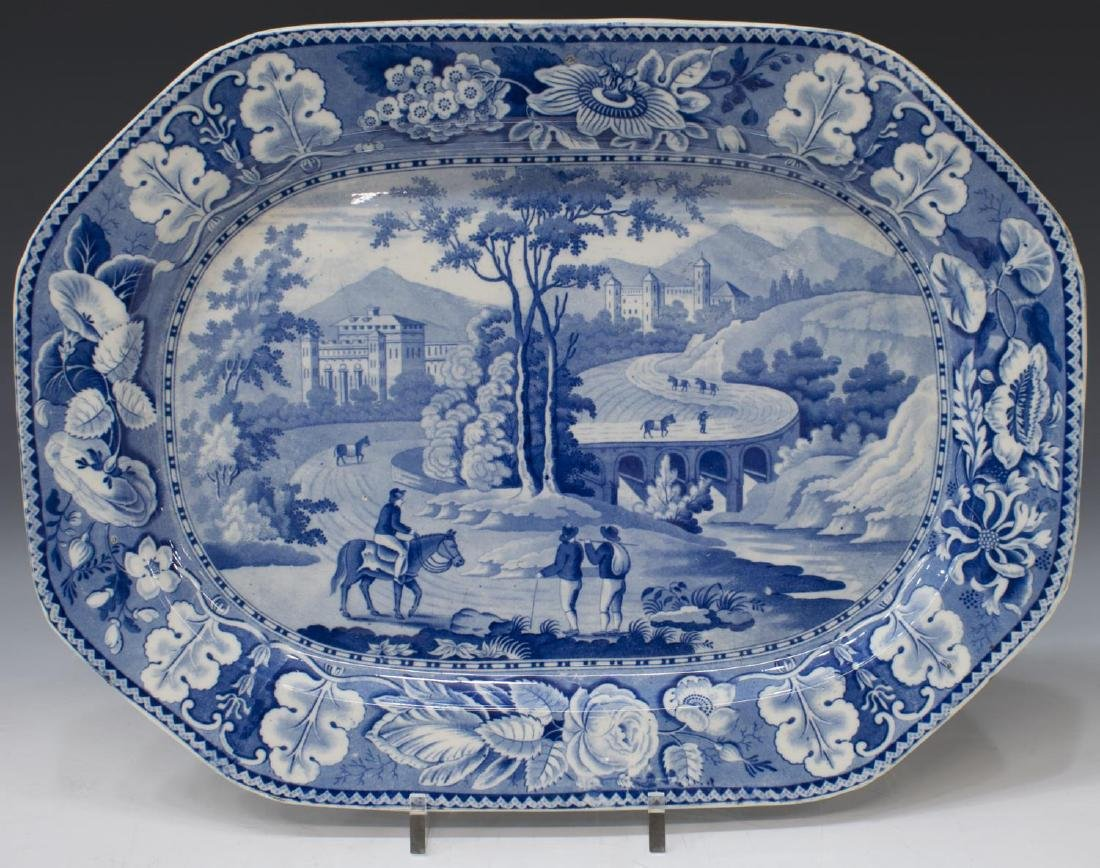 ENGLISH STAFFORDSHIRE BLUE TRANSFERWARE PLATTER