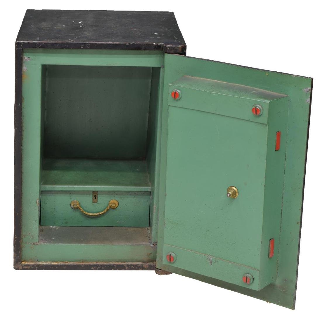 ENGLISH T WITHERS & SON PAINTED IRON KEY LOCK SAFE - 2