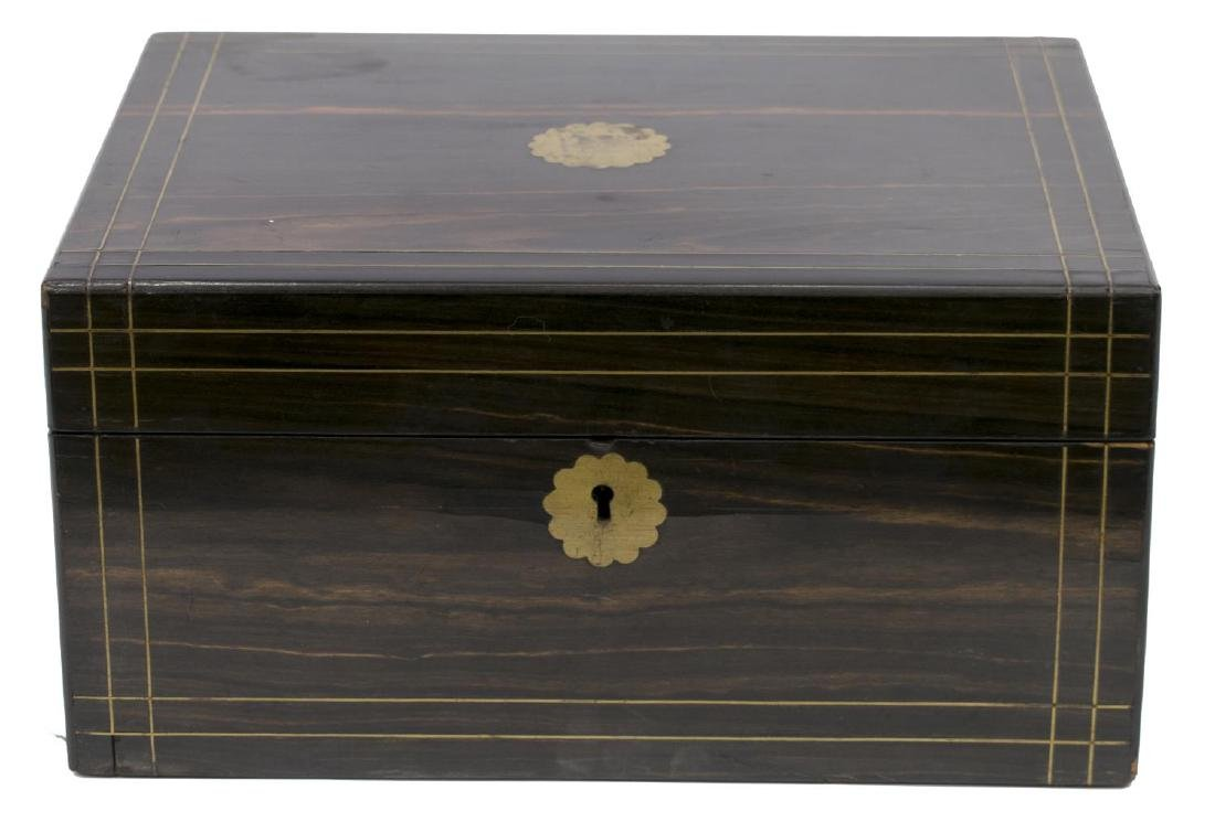 ENGLISH COROMANDEL & BRASS INLAID TRAVELING DESK - 2