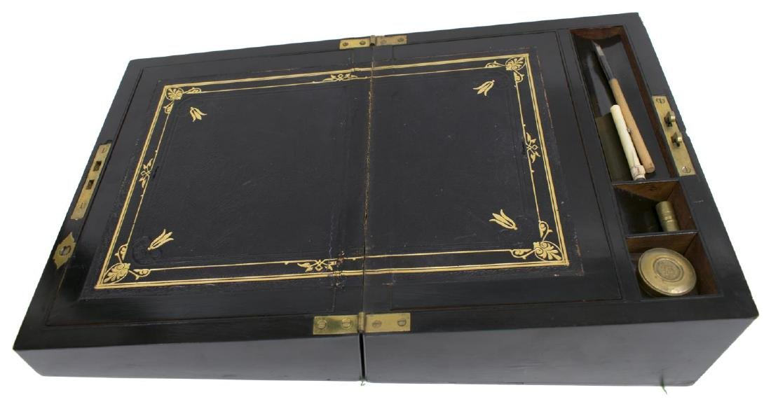 ENGLISH COROMANDEL & BRASS INLAID TRAVELING DESK - 3