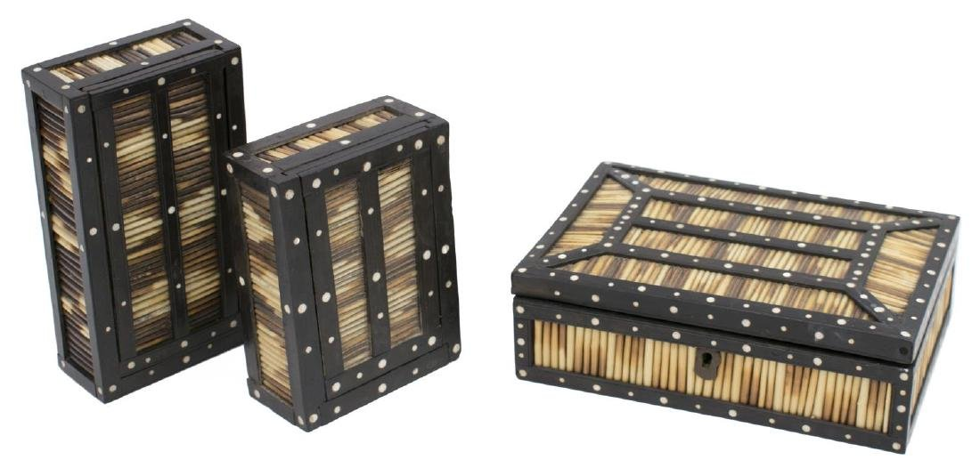 (3) ANGLO-INDIAN INLAID PORCUPINE QUILL BOXES